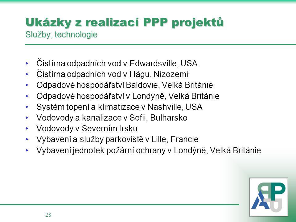 28 Ukázky z realizací PPP projektů Služby, technologie •Čistírna odpadních vod v Edwardsville, USA •Čistírna odpadních vod v Hágu, Nizozemí •Odpadové