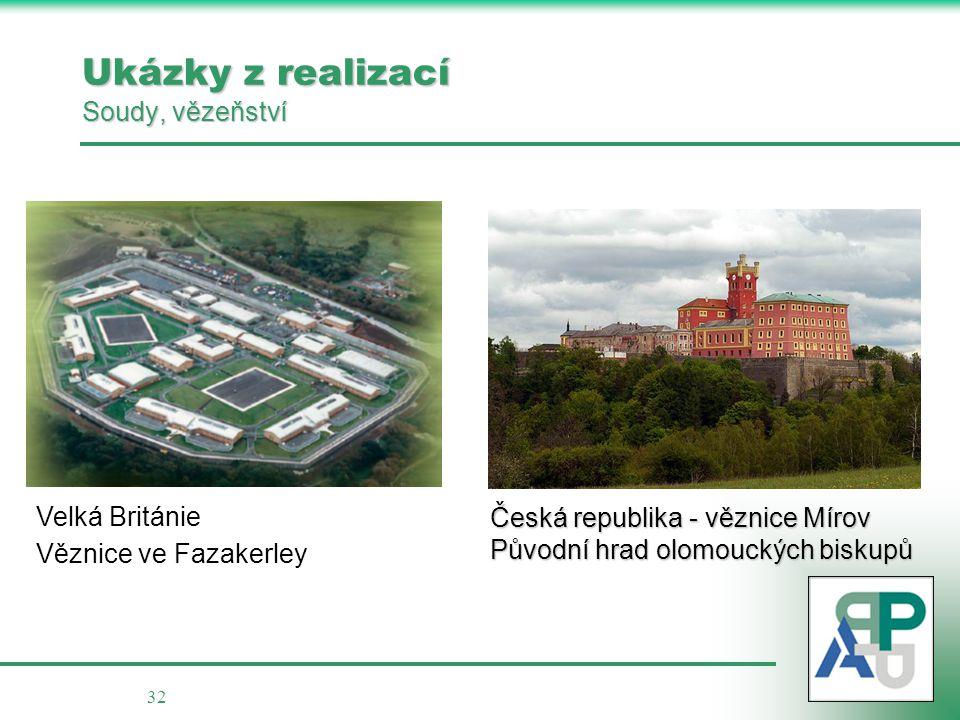 32 Ukázky z realizací Soudy, vězeňství Česká republika - věznice Mírov Původní hrad olomouckých biskupů Velká Británie Věznice ve Fazakerley