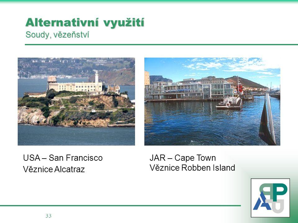 33 Alternativní využití Soudy, vězeňství USA – San Francisco Věznice Alcatraz JAR – Cape Town Věznice Robben Island