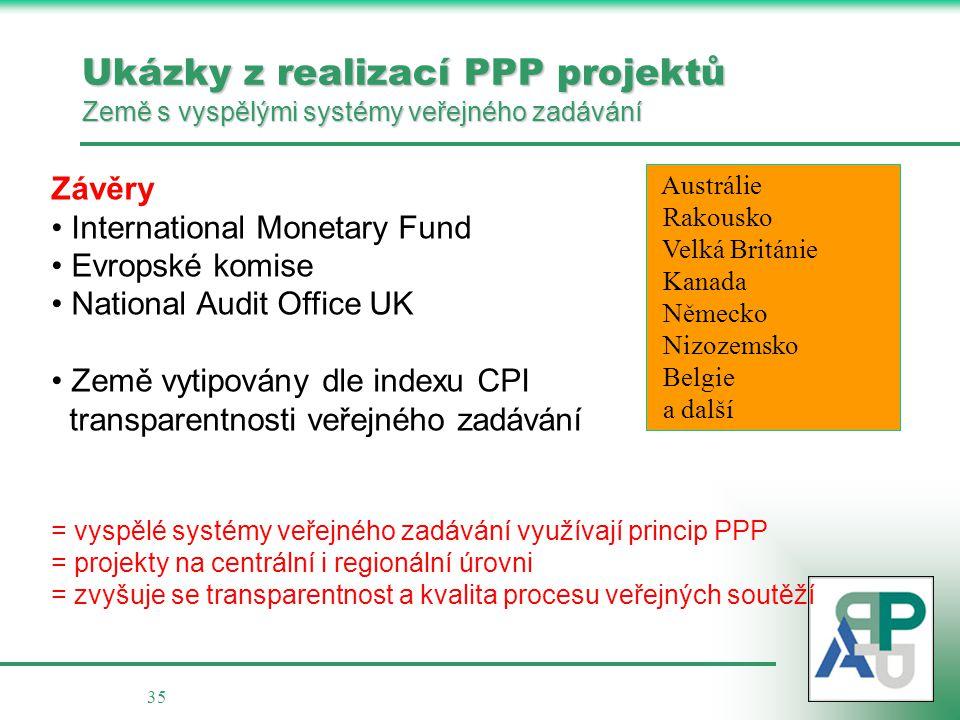 35 Ukázky z realizací PPP projektů Země s vyspělými systémy veřejného zadávání Závěry • • International Monetary Fund • • Evropské komise • • National