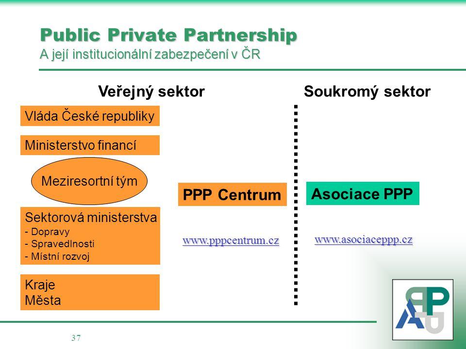 37 Public Private Partnership A její institucionální zabezpečení v ČR Ministerstvo financí Sektorová ministerstva - - Dopravy - - Spravedlnosti - - Mí