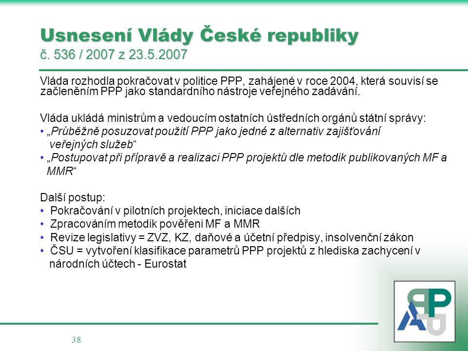 38 Usnesení Vlády České republiky č. 536 / 2007 z 23.5.2007 Vláda rozhodla pokračovat v politice PPP, zahájené v roce 2004, která souvisí se začlenění
