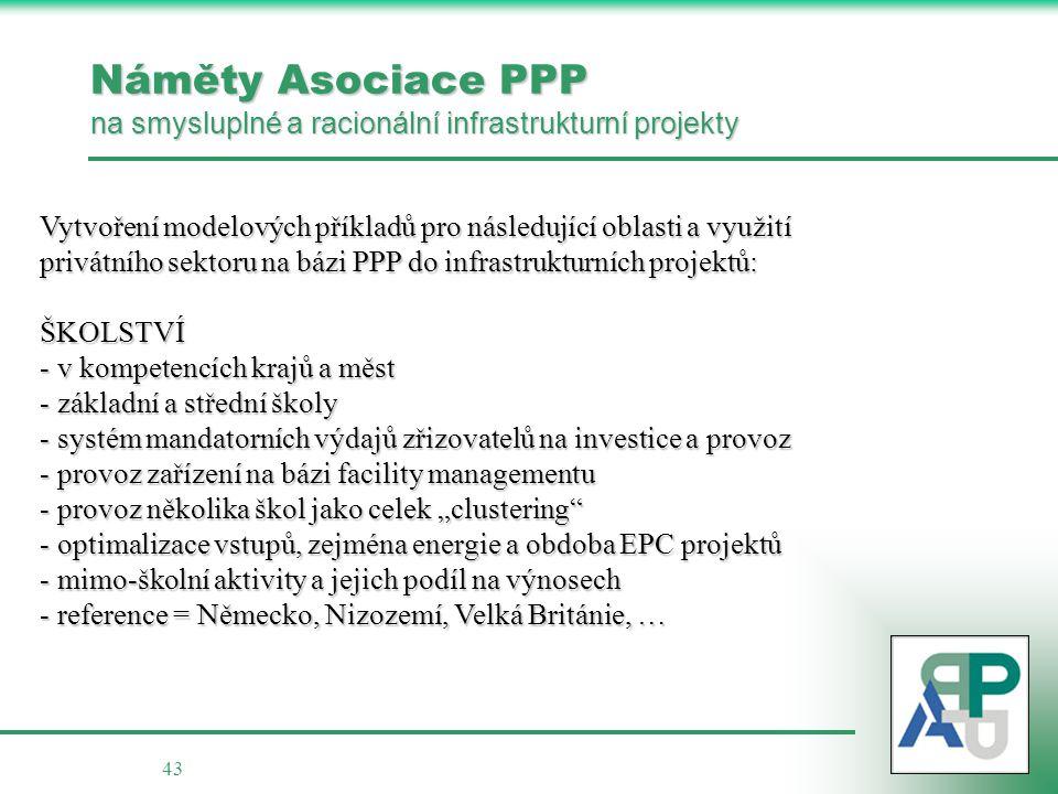 43 Náměty Asociace PPP na smysluplné a racionální infrastrukturní projekty Vytvoření modelových příkladů pro následující oblasti a využití privátního