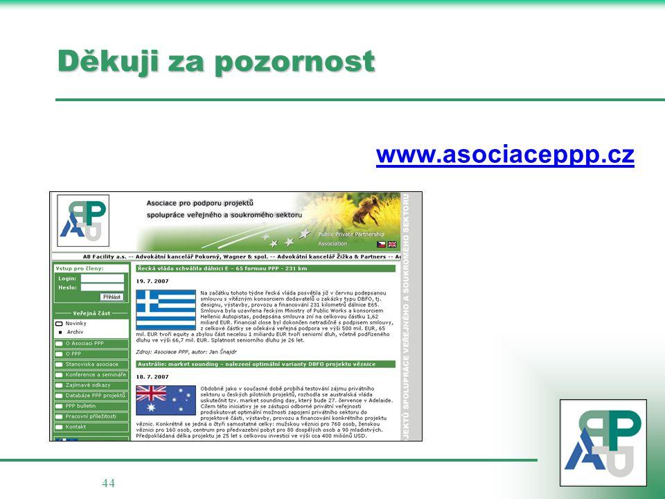 44 Děkuji za pozornost www.asociaceppp.cz