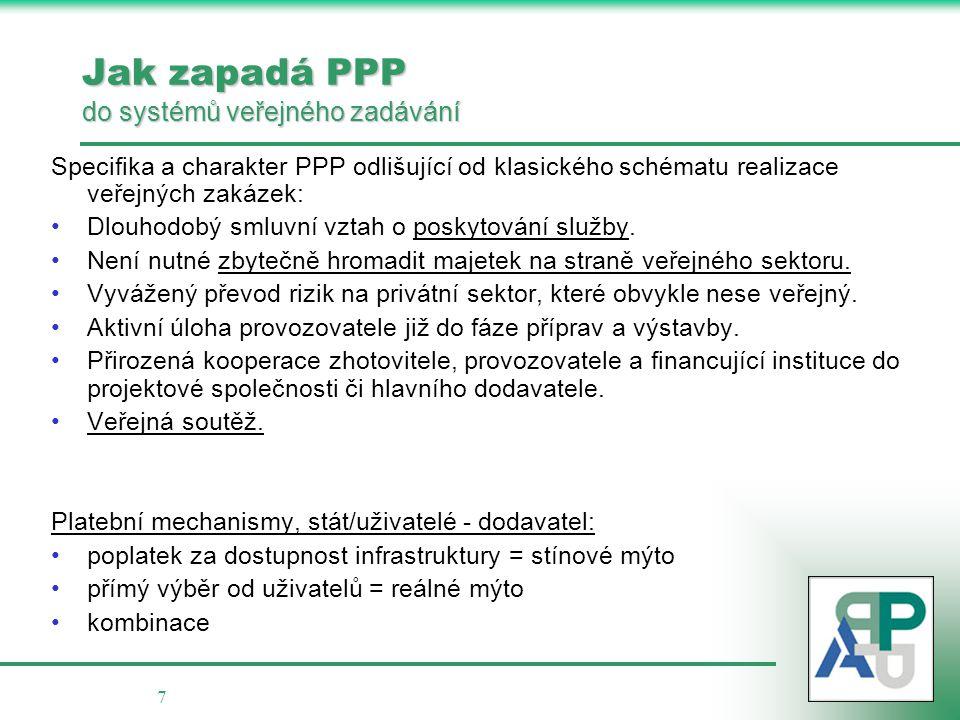 7 Jak zapadá PPP do systémů veřejného zadávání Specifika a charakter PPP odlišující od klasického schématu realizace veřejných zakázek: •Dlouhodobý sm