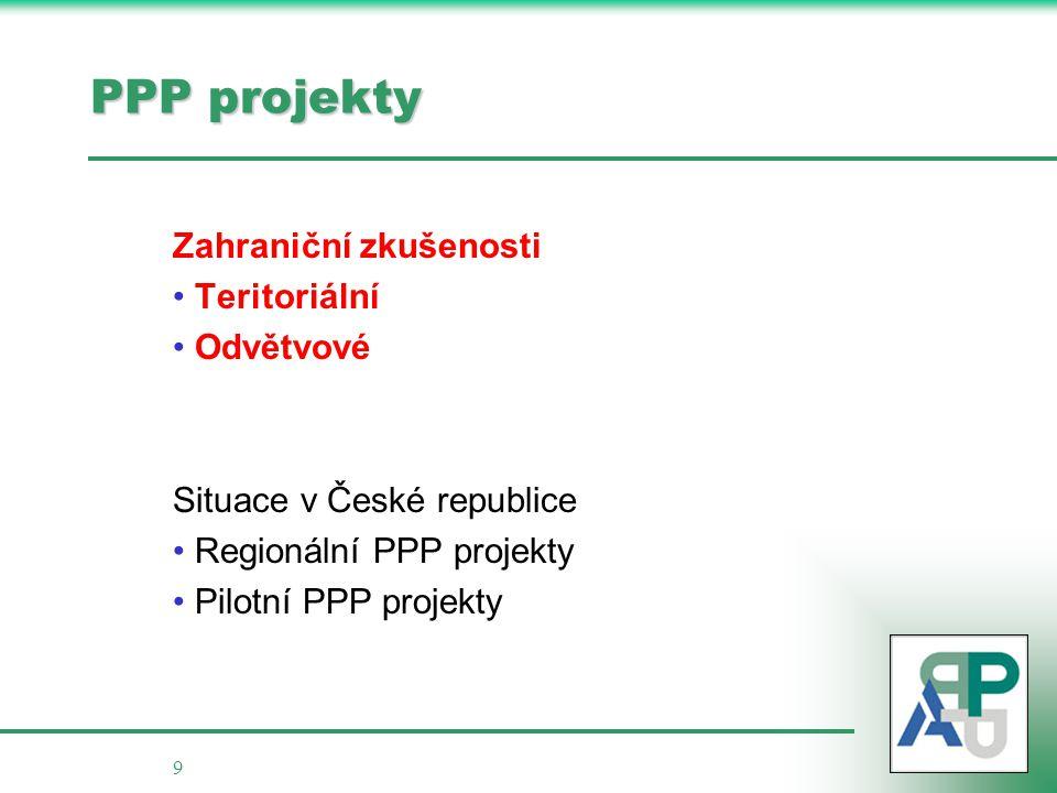 9 PPP projekty Zahraniční zkušenosti • Teritoriální • Odvětvové Situace v České republice • Regionální PPP projekty • Pilotní PPP projekty