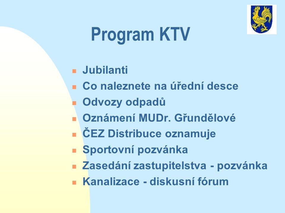 Program KTV  Jubilanti  Co naleznete na úřední desce  Odvozy odpadů  Oznámení MUDr. Gřundělové  ČEZ Distribuce oznamuje  Sportovní pozvánka  Za
