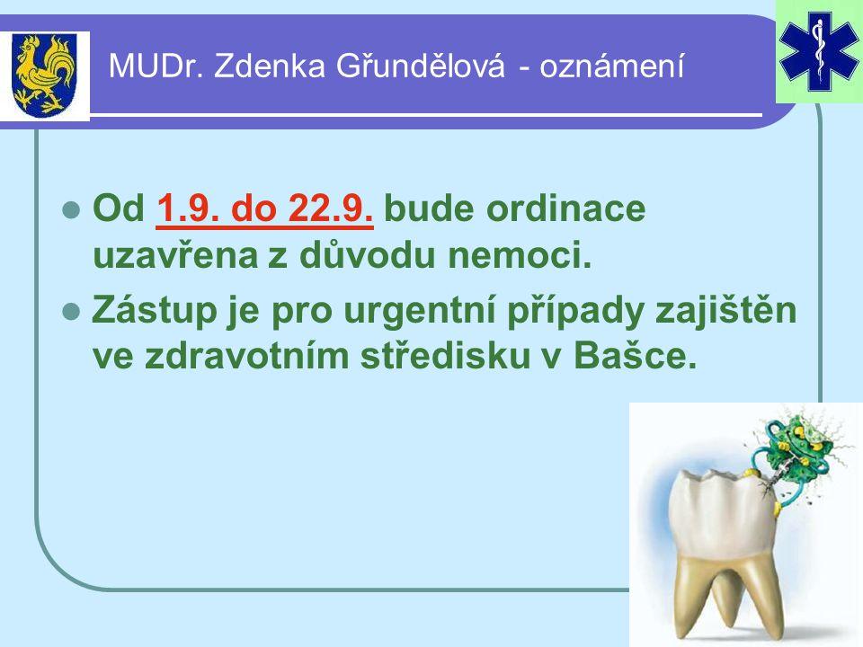 MUDr. Zdenka Gřundělová - oznámení  Od 1.9. do 22.9. bude ordinace uzavřena z důvodu nemoci.  Zástup je pro urgentní případy zajištěn ve zdravotním