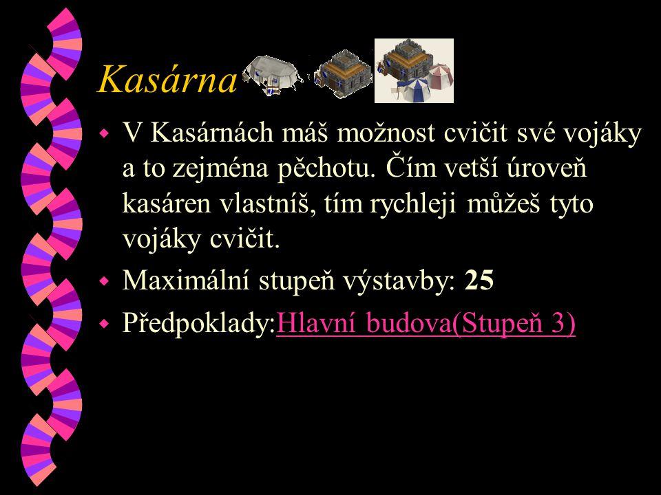 Kasárna w V Kasárnách máš možnost cvičit své vojáky a to zejména pěchotu.