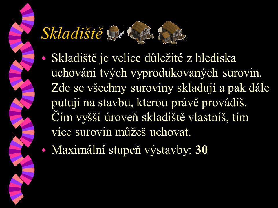 Skladiště w Skladiště je velice důležité z hlediska uchování tvých vyprodukovaných surovin.