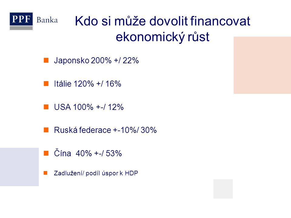 Kdo si může dovolit financovat ekonomický růst  Japonsko 200% +/ 22%  Itálie 120% +/ 16%  USA 100% +-/ 12%  Ruská federace +-10%/ 30%  Čína 40% +