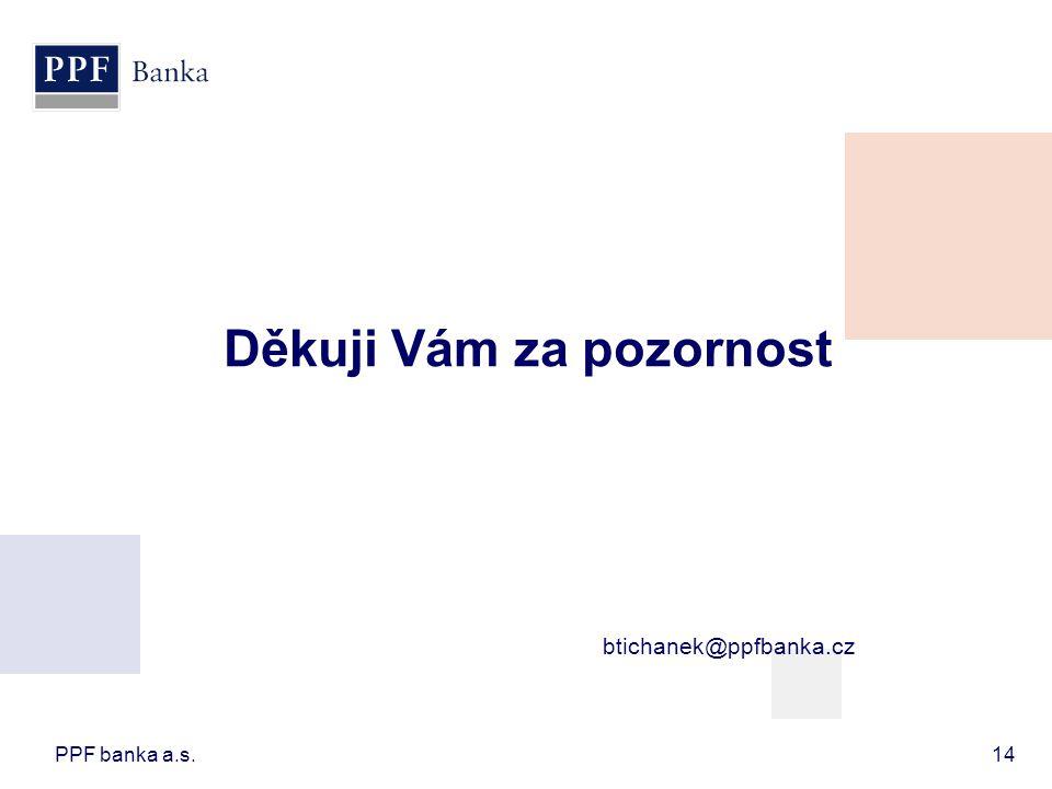 PPF banka a.s.14 Děkuji Vám za pozornost btichanek@ppfbanka.cz