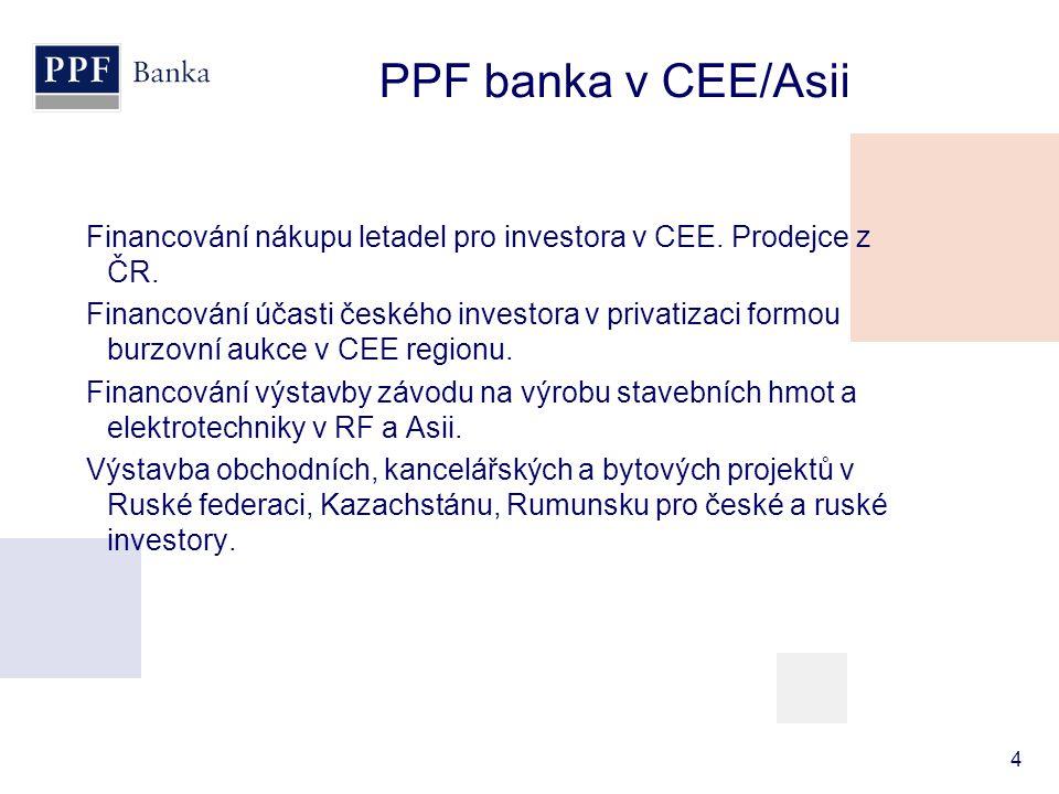 Financování nákupu letadel pro investora v CEE. Prodejce z ČR. Financování účasti českého investora v privatizaci formou burzovní aukce v CEE regionu.