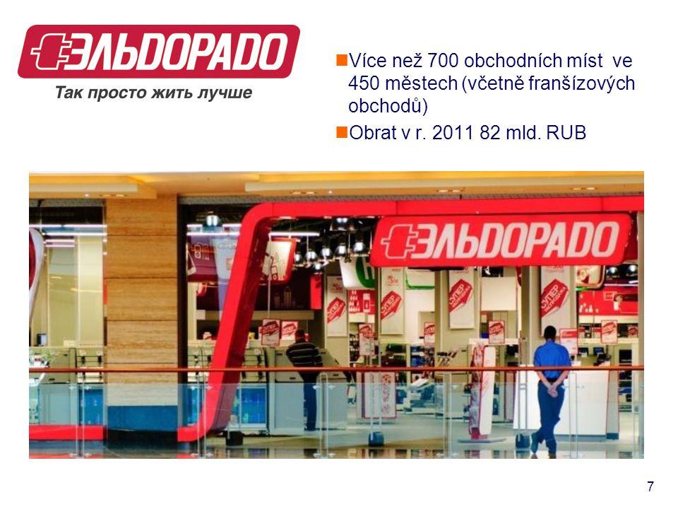  Více než 700 obchodních míst ve 450 městech (včetně franšízových obchodů)  Obrat v r. 2011 82 mld. RUB 7