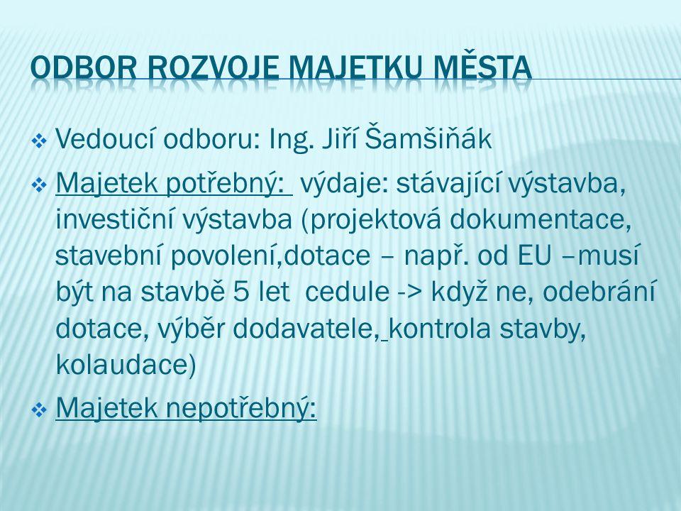  Vedoucí odboru: Ing. Jiří Šamšiňák  Majetek potřebný: výdaje: stávající výstavba, investiční výstavba (projektová dokumentace, stavební povolení,do