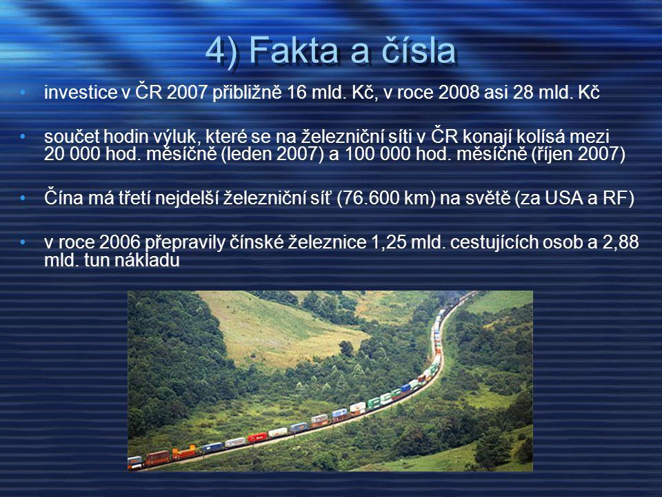 4) Fakta a čísla •investice v ČR 2007 přibližně 16 mld. Kč, v roce 2008 asi 28 mld. Kč •součet hodin výluk, které se na železniční síti v ČR konají ko