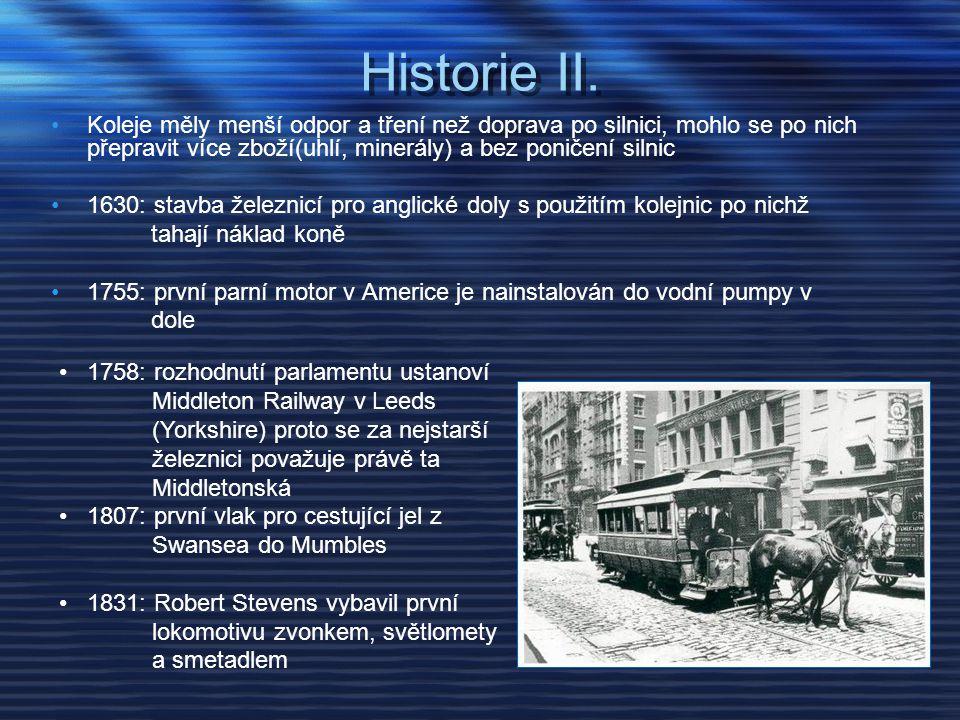 Historie II. •Koleje měly menší odpor a tření než doprava po silnici, mohlo se po nich přepravit více zboží(uhlí, minerály) a bez poničení silnic •163