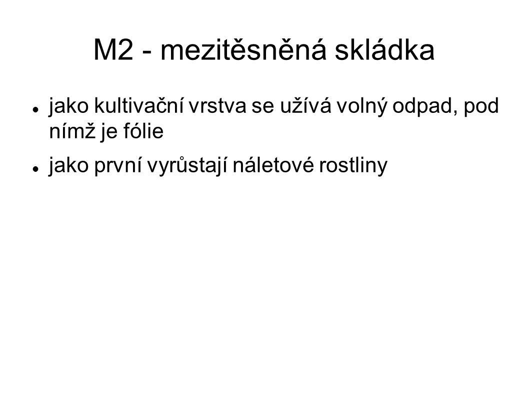 M2 - mezitěsněná skládka  jako kultivační vrstva se užívá volný odpad, pod nímž je fólie  jako první vyrůstají náletové rostliny
