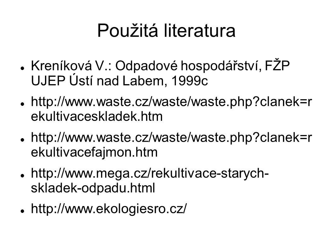 Použitá literatura  Kreníková V.: Odpadové hospodářství, FŽP UJEP Ústí nad Labem, 1999c  http://www.waste.cz/waste/waste.php?clanek=r ekultivaceskla