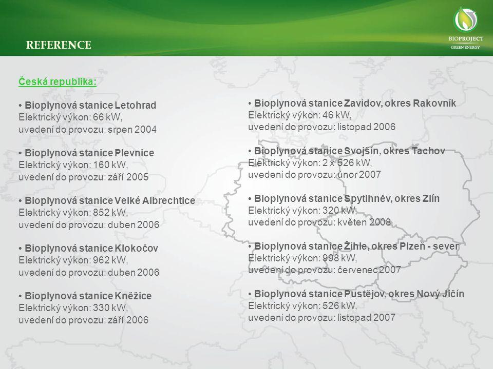 Česká republika: • Bioplynová stanice Letohrad Elektrický výkon: 66 kW, uvedení do provozu: srpen 2004 • Bioplynová stanice Plevnice Elektrický výkon: 160 kW, uvedení do provozu: září 2005 • Bioplynová stanice Velké Albrechtice Elektrický výkon: 852 kW, uvedení do provozu: duben 2006 • Bioplynová stanice Klokočov Elektrický výkon: 962 kW, uvedení do provozu: duben 2006 • Bioplynová stanice Kněžice Elektrický výkon: 330 kW, uvedení do provozu: září 2006 REFERENCE • Bioplynová stanice Zavidov, okres Rakovník Elektrický výkon: 46 kW, uvedení do provozu: listopad 2006 • Bioplynová stanice Svojšín, okres Tachov Elektrický výkon: 2 x 526 kW, uvedení do provozu: únor 2007 • Bioplynová stanice Spytihněv, okres Zlín Elektrický výkon: 320 kW, uvedení do provozu: květen 2008 • Bioplynová stanice Žihle, okres Plzeň - sever Elektrický výkon: 998 kW, uvedení do provozu: červenec 2007 • Bioplynová stanice Pustějov, okres Nový Jičín Elektrický výkon: 526 kW, uvedení do provozu: listopad 2007