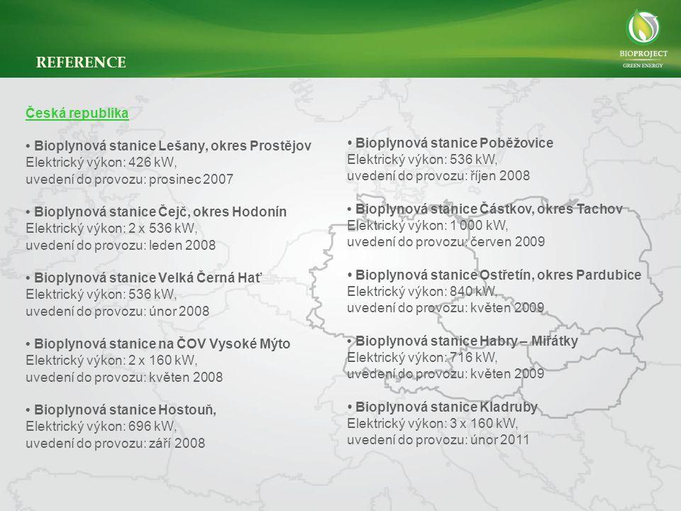 Česká republika • Bioplynová stanice Lešany, okres Prostějov Elektrický výkon: 426 kW, uvedení do provozu: prosinec 2007 • Bioplynová stanice Čejč, okres Hodonín Elektrický výkon: 2 x 536 kW, uvedení do provozu: leden 2008 • Bioplynová stanice Velká Černá Hať Elektrický výkon: 536 kW, uvedení do provozu: únor 2008 • Bioplynová stanice na ČOV Vysoké Mýto Elektrický výkon: 2 x 160 kW, uvedení do provozu: květen 2008 • Bioplynová stanice Hostouň, Elektrický výkon: 696 kW, uvedení do provozu: září 2008 • Bioplynová stanice Poběžovice Elektrický výkon: 536 kW, uvedení do provozu: říjen 2008 • Bioplynová stanice Částkov, okres Tachov Elektrický výkon: 1 000 kW, uvedení do provozu: červen 2009 • Bioplynová stanice Ostřetín, okres Pardubice Elektrický výkon: 840 kW, uvedení do provozu: květen 2009 • Bioplynová stanice Habry – Miřátky Elektrický výkon: 716 kW, uvedení do provozu: květen 2009 • Bioplynová stanice Kladruby Elektrický výkon: 3 x 160 kW, uvedení do provozu: únor 2011 REFERENCE