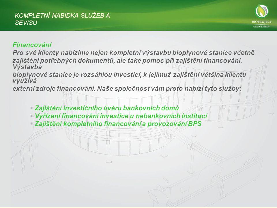 Financování Pro své klienty nabízíme nejen kompletní výstavbu bioplynové stanice včetně zajištění potřebných dokumentů, ale také pomoc při zajištění financování.