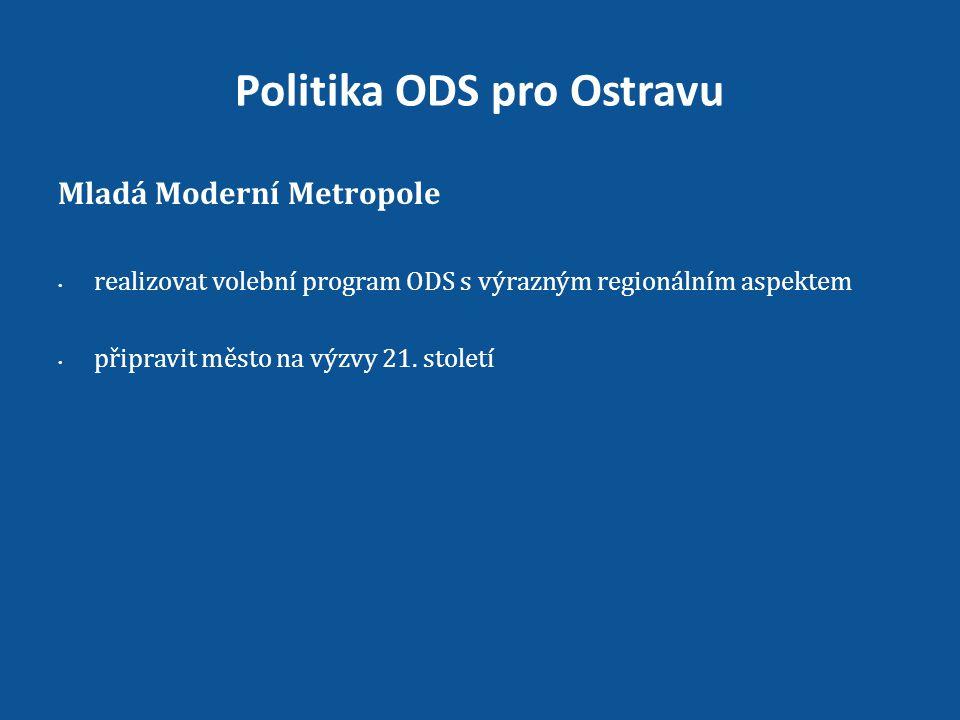Politika ODS pro Ostravu Mladá Moderní Metropole • realizovat volební program ODS s výrazným regionálním aspektem • připravit město na výzvy 21.