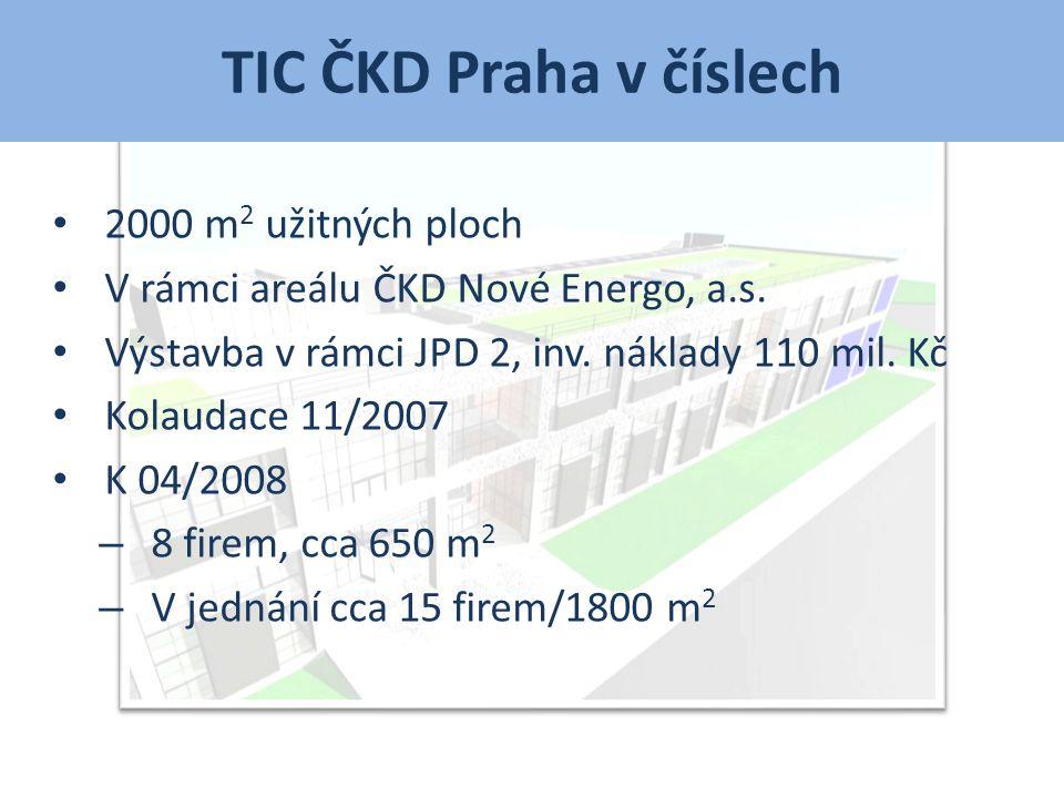 TIC ČKD Praha +/- • Blízkost silného průmyslového podniku s potřebou inovací a vývoje • Zainteresovanost ČKD GROUP, a.s.