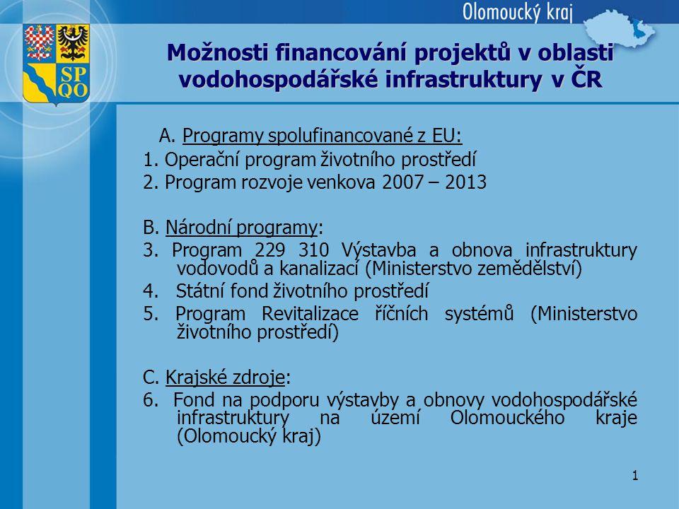 1 Možnosti financování projektů v oblasti vodohospodářské infrastruktury v ČR A.