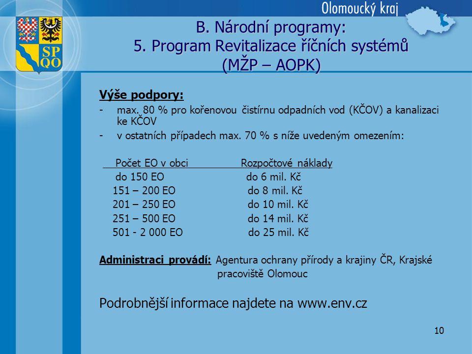 10 B.Národní programy: 5. Program Revitalizace říčních systémů (MŽP – AOPK) Výše podpory: -max.