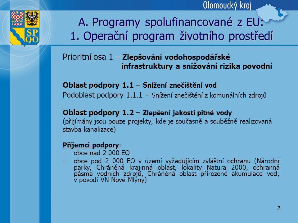 2 A. Programy spolufinancované z EU: 1.