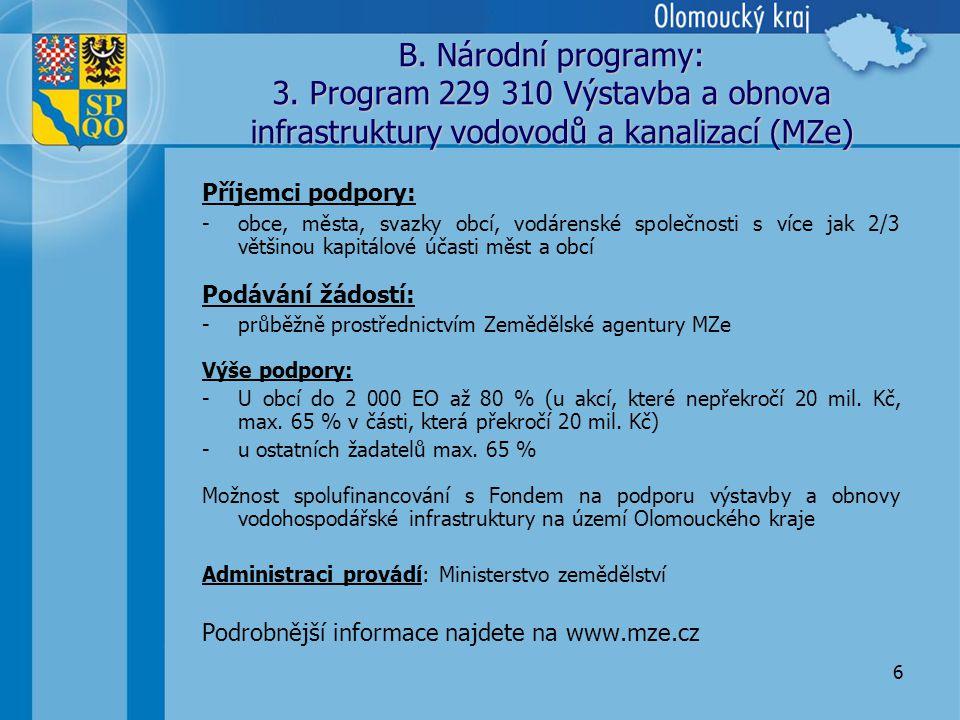 6 B. Národní programy: 3.