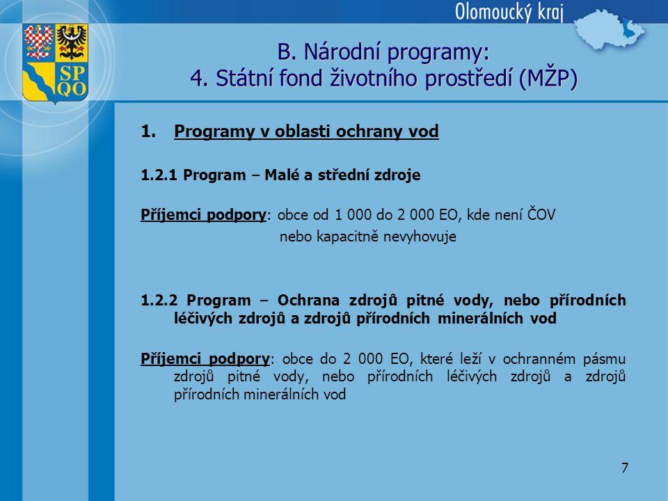 7 B. Národní programy: 4.
