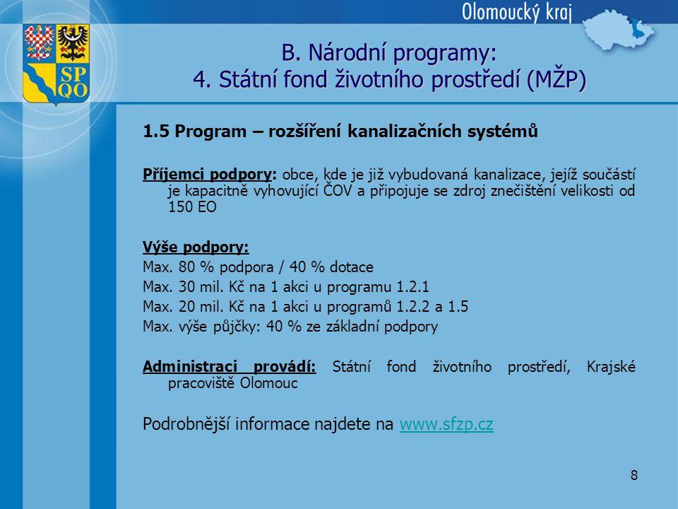 8 B. Národní programy: 4.