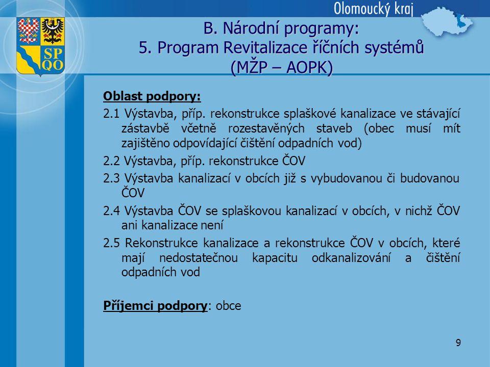 9 B. Národní programy: 5.