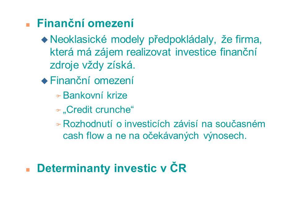 n Finanční omezení u Neoklasické modely předpokládaly, že firma, která má zájem realizovat investice finanční zdroje vždy získá. u Finanční omezení F