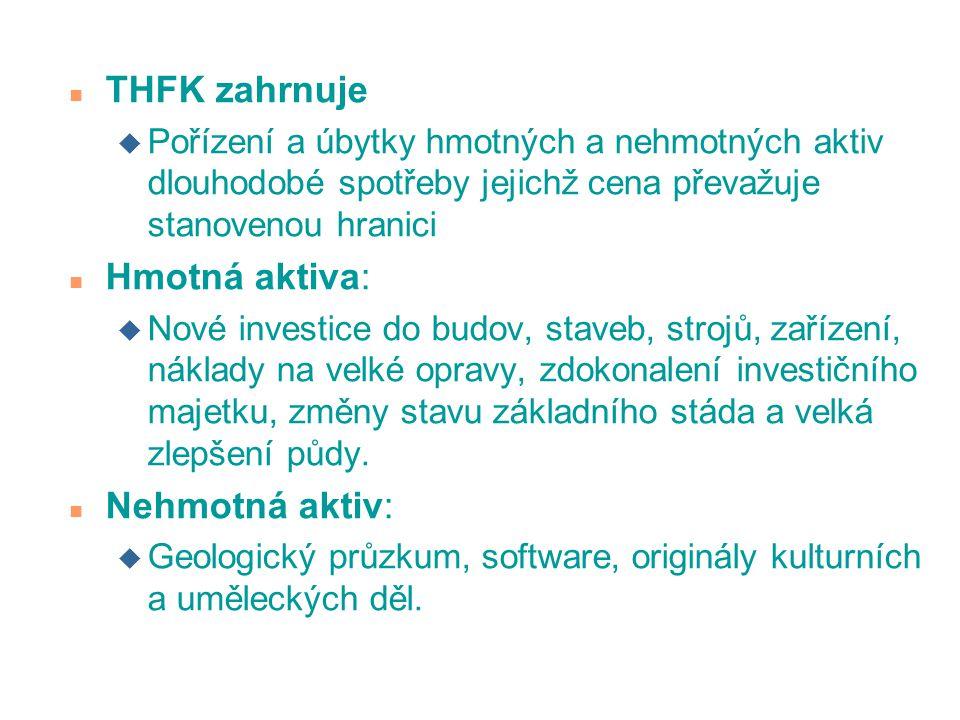 n THFK zahrnuje u Pořízení a úbytky hmotných a nehmotných aktiv dlouhodobé spotřeby jejichž cena převažuje stanovenou hranici n Hmotná aktiva: u Nové