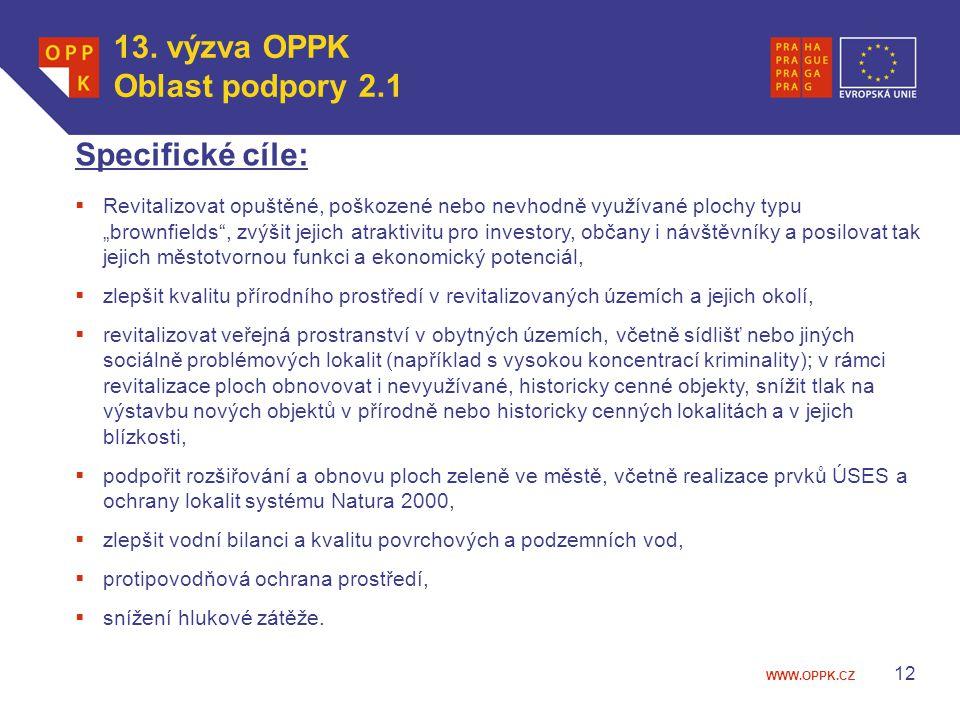 """WWW.OPPK.CZ 12 Specifické cíle:  Revitalizovat opuštěné, poškozené nebo nevhodně využívané plochy typu """"brownfields"""", zvýšit jejich atraktivitu pro i"""