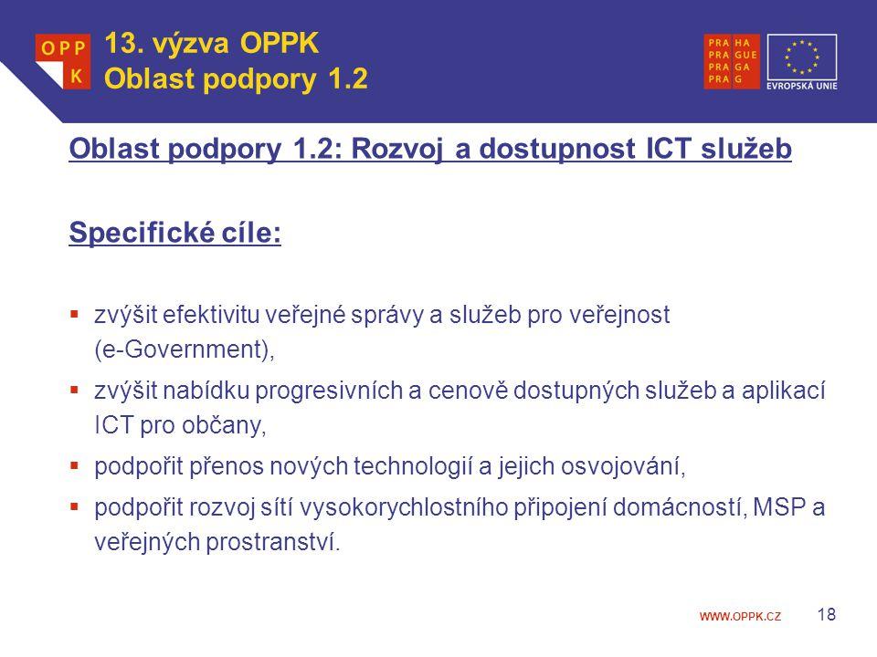 WWW.OPPK.CZ 18 Oblast podpory 1.2: Rozvoj a dostupnost ICT služeb Specifické cíle:  zvýšit efektivitu veřejné správy a služeb pro veřejnost (e-Govern