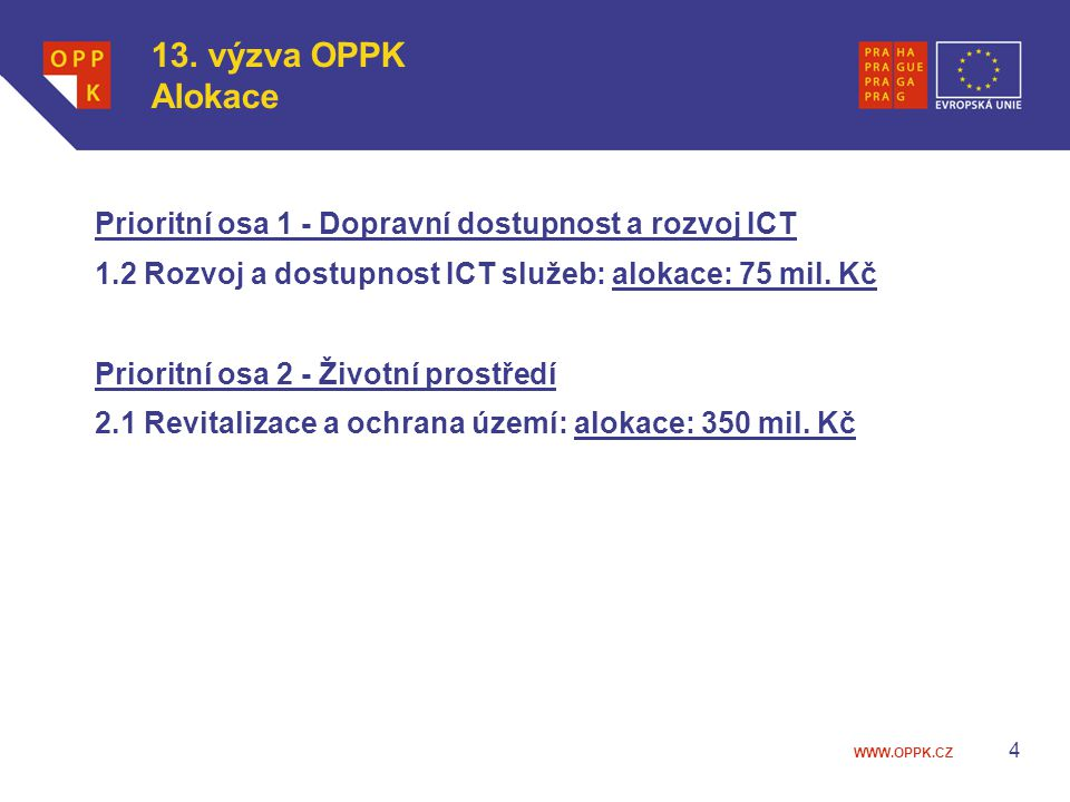 WWW.OPPK.CZ 4 13. výzva OPPK Alokace Prioritní osa 1 - Dopravní dostupnost a rozvoj ICT 1.2 Rozvoj a dostupnost ICT služeb: alokace: 75 mil. Kč Priori