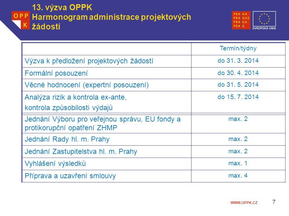 WWW.OPPK.CZ 7 13. výzva OPPK Harmonogram administrace projektových žádostí Termín/týdny Výzva k předložení projektových žádostí do 31. 3. 2014 Formáln