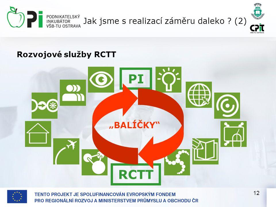 """12 Jak jsme s realizací záměru daleko (2) Rozvojové služby RCTT """"BALÍČKY PI RCTT"""