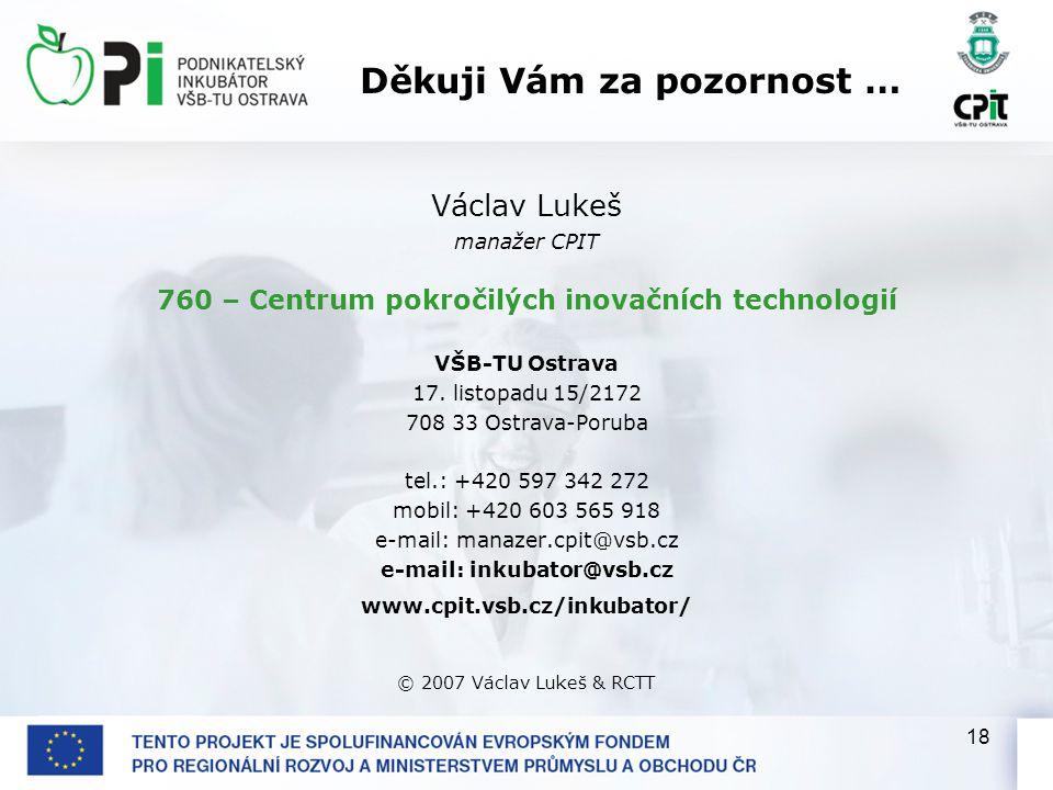18 Václav Lukeš manažer CPIT 760 – Centrum pokročilých inovačních technologií VŠB-TU Ostrava 17.