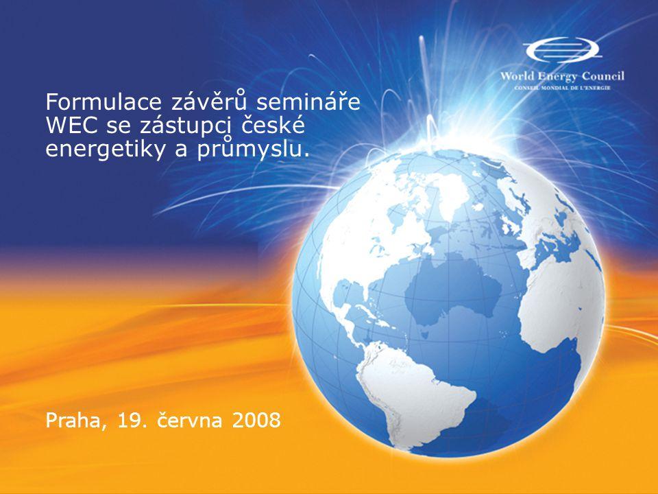 Formulace závěrů semináře WEC se zástupci české energetiky a průmyslu. Praha, 19. června 2008
