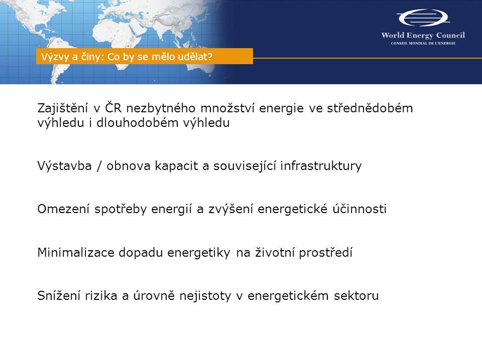 Zajištění v ČR nezbytného množství energie ve střednědobém výhledu i dlouhodobém výhledu Výstavba / obnova kapacit a související infrastruktury Omezení spotřeby energií a zvýšení energetické účinnosti Minimalizace dopadu energetiky na životní prostředí Snížení rizika a úrovně nejistoty v energetickém sektoru Výzvy a činy: Co by se mělo udělat?