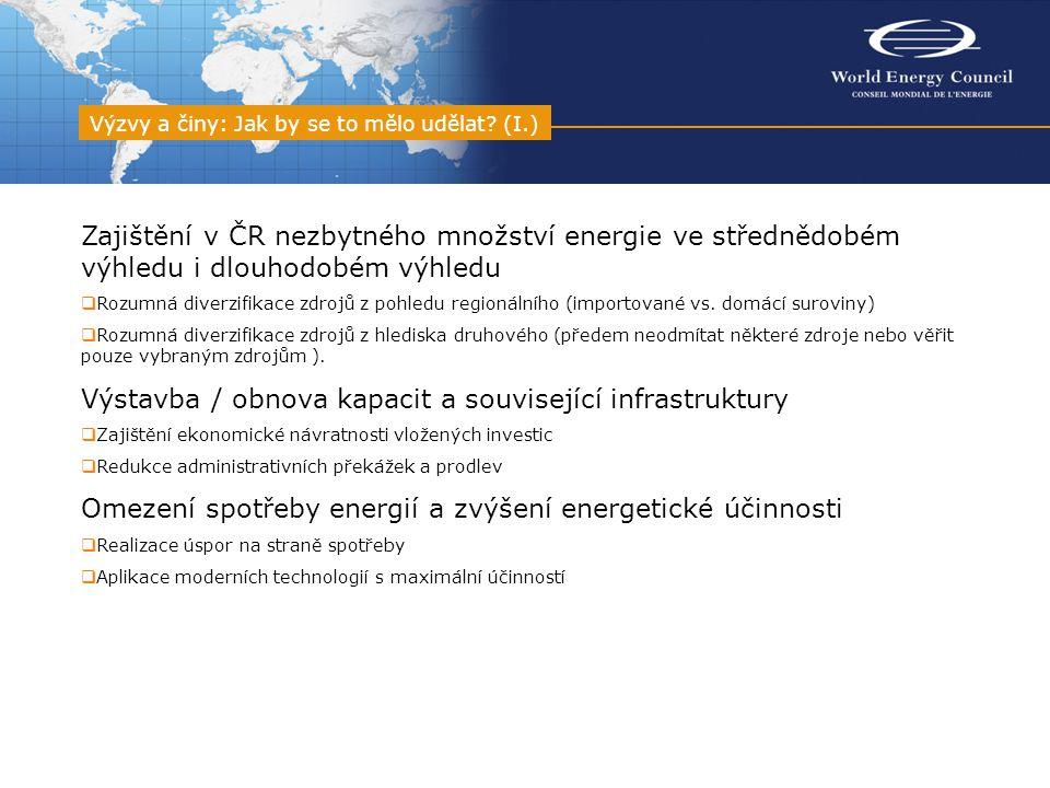 Zajištění v ČR nezbytného množství energie ve střednědobém výhledu i dlouhodobém výhledu  Rozumná diverzifikace zdrojů z pohledu regionálního (importované vs.