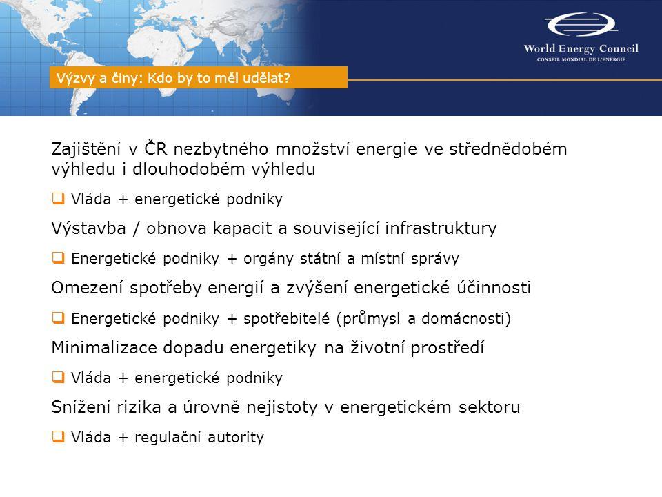 Zajištění v ČR nezbytného množství energie ve střednědobém výhledu i dlouhodobém výhledu  Vláda + energetické podniky Výstavba / obnova kapacit a související infrastruktury  Energetické podniky + orgány státní a místní správy Omezení spotřeby energií a zvýšení energetické účinnosti  Energetické podniky + spotřebitelé (průmysl a domácnosti) Minimalizace dopadu energetiky na životní prostředí  Vláda + energetické podniky Snížení rizika a úrovně nejistoty v energetickém sektoru  Vláda + regulační autority Výzvy a činy: Kdo by to měl udělat?