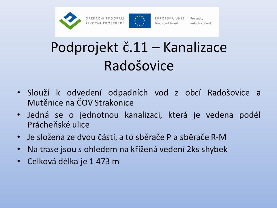Podprojekt č.11 – Kanalizace Radošovice • Slouží k odvedení odpadních vod z obcí Radošovice a Mutěnice na ČOV Strakonice • Jedná se o jednotnou kanali