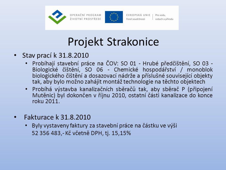 Projekt Strakonice • Stav prací k 31.8.2010 • Probíhají stavební práce na ČOV: SO 01 - Hrubé předčištění, SO 03 - Biologické čištění, SO 06 - Chemické
