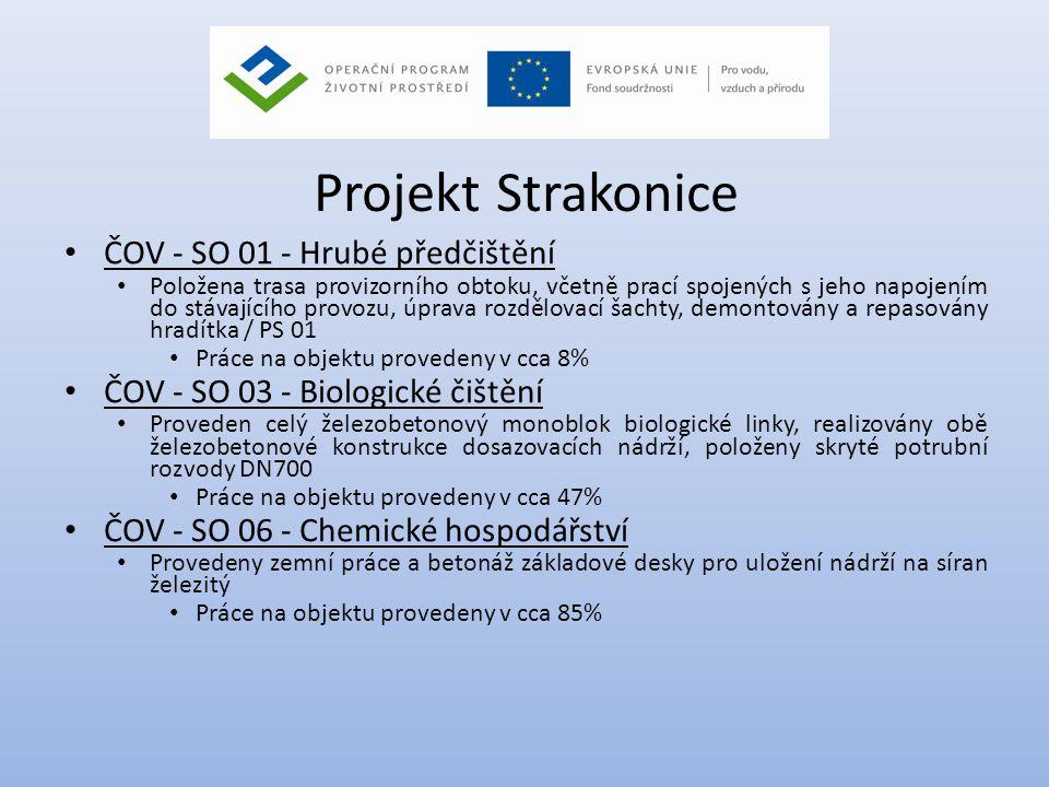 Projekt Strakonice • ČOV - SO 01 - Hrubé předčištění • Položena trasa provizorního obtoku, včetně prací spojených s jeho napojením do stávajícího prov